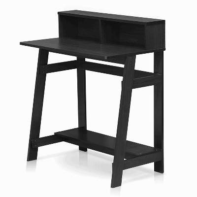 Furinno 14054DWN Simplistic Rectangle A Frame Free Standing Computer Monitor Rising Home Office Desk Table Work Station w/ Bottom Storage, Dark Walnut