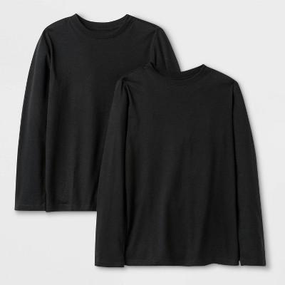 Boys' 2pk Long Sleeve T-Shirt - Cat & Jack™ Black