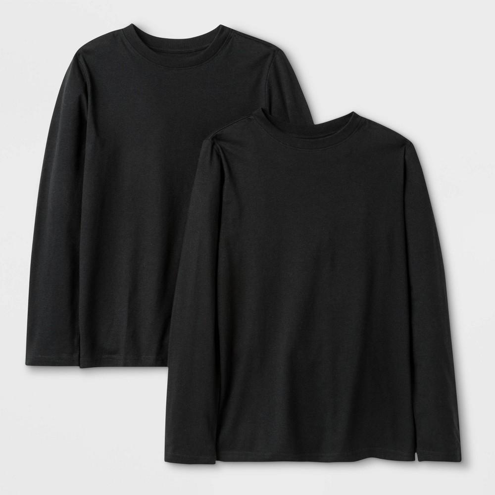 Image of Boys' 2pk Long Sleeve T-Shirt - Cat & Jack Black M, Boy's, Size: Medium