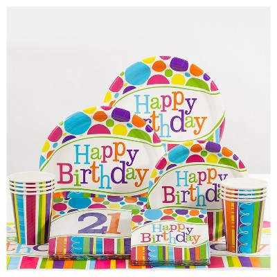 21st Birthday Bright And Bold Party Supplies Collection