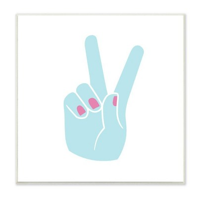 "12""x0.5""x12"" Peace Hand Teal with Pink Nail Polish Wall Plaque Art - Stupell Industries"