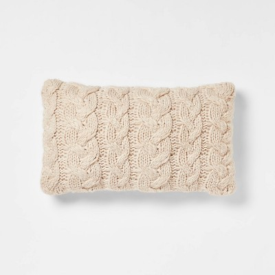 Oversized Chunky Cable Knit Lumbar Throw Pillow Neutral - Threshold™