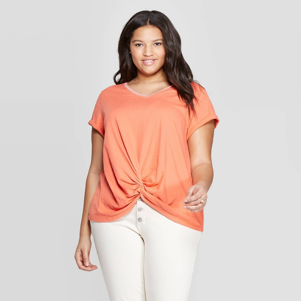Women's Plus Size Short Sleeve V-Neck Tie Front T-Shirt - Universal Thread Orange X