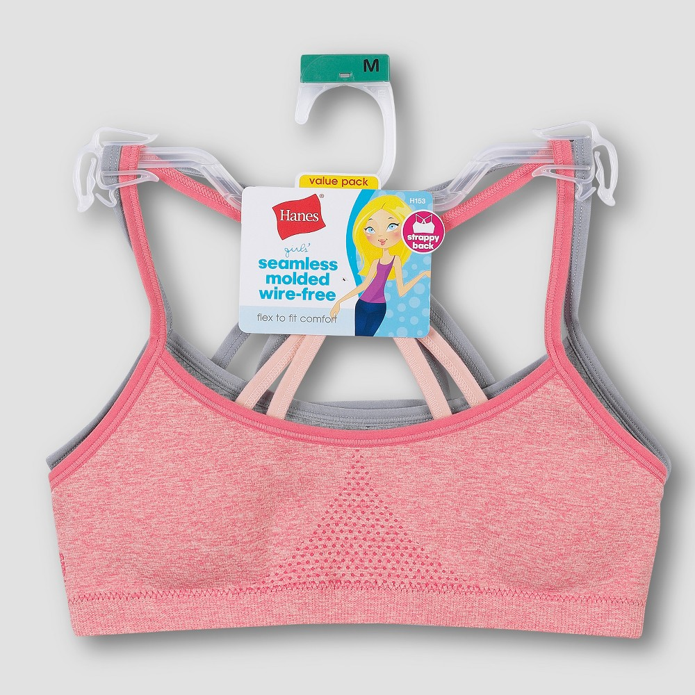 Hanes Girls' Seamless Foam Strappy Back Wirefree Bralette - Pink/Gray XL