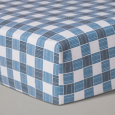 Crib Fitted Sheet Gingham - Cloud Island™ Blue