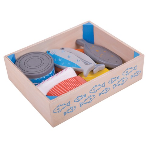 Bigjigs Toys Seafood Crate Wooden Role Play Toy - image 1 of 2