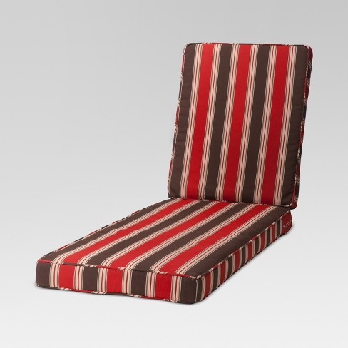 Rolston Outdoor Chaise Lounge Replacement Cushion Red Stripe Grand Basket