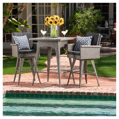Puerta 3pc Square All-Weather Wicker Patio Dining Bar Set - Black - Christopher Knight Home - image 1 of 4