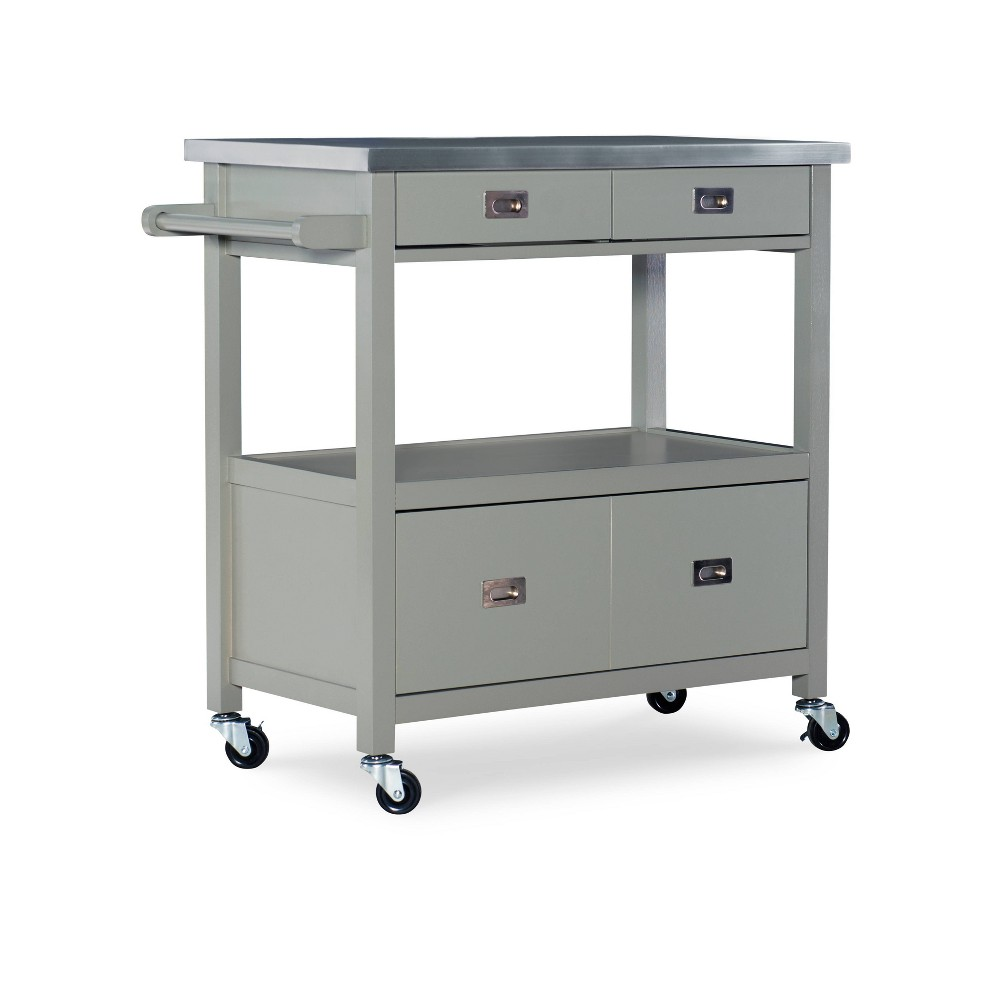 Sydney Kitchen Cart Gray Wood Linon