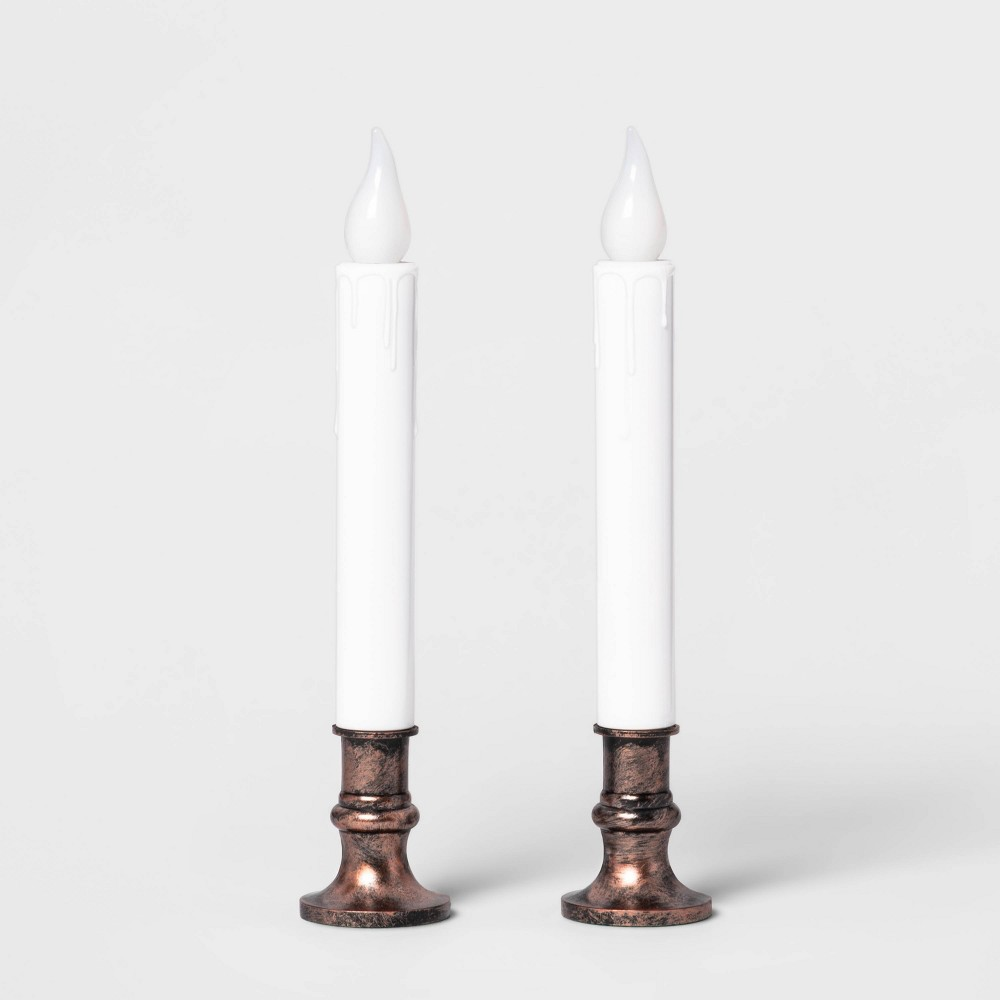 Image of 2ct Battery Operated Christmas LED Candolier Warm White Oil Rubbed Bronze - Wondershop