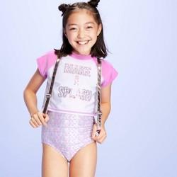 Girls' Make a Splash One Piece Rash Guard 2pc Set - More Than Magic™ Purple