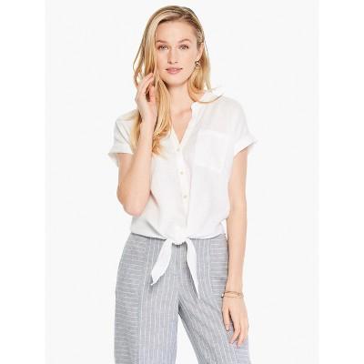 NIC+ZOE Women's Mixed Media Tie Front Shirt