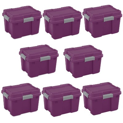 Sterilite 20 Gallon Heavy Duty Plastic Gasket Tote Stackable Storage Container Box w/ Lid & Latches for Home Organization, Exotic Purple/Gray (8 Pack)