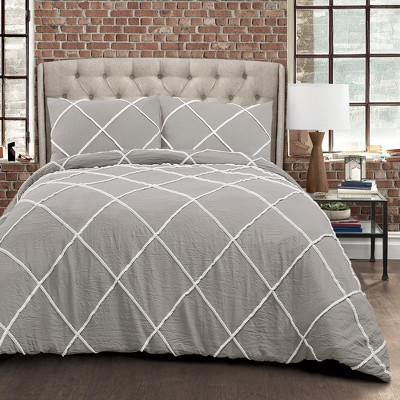 3pc King Diamond Pom Pom Comforter Set Gray - Lush Décor
