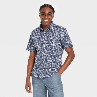 Men's Slim Fit Stretch Poplin Short Sleeve Button-Down Shirt - Goodfellow & Co™