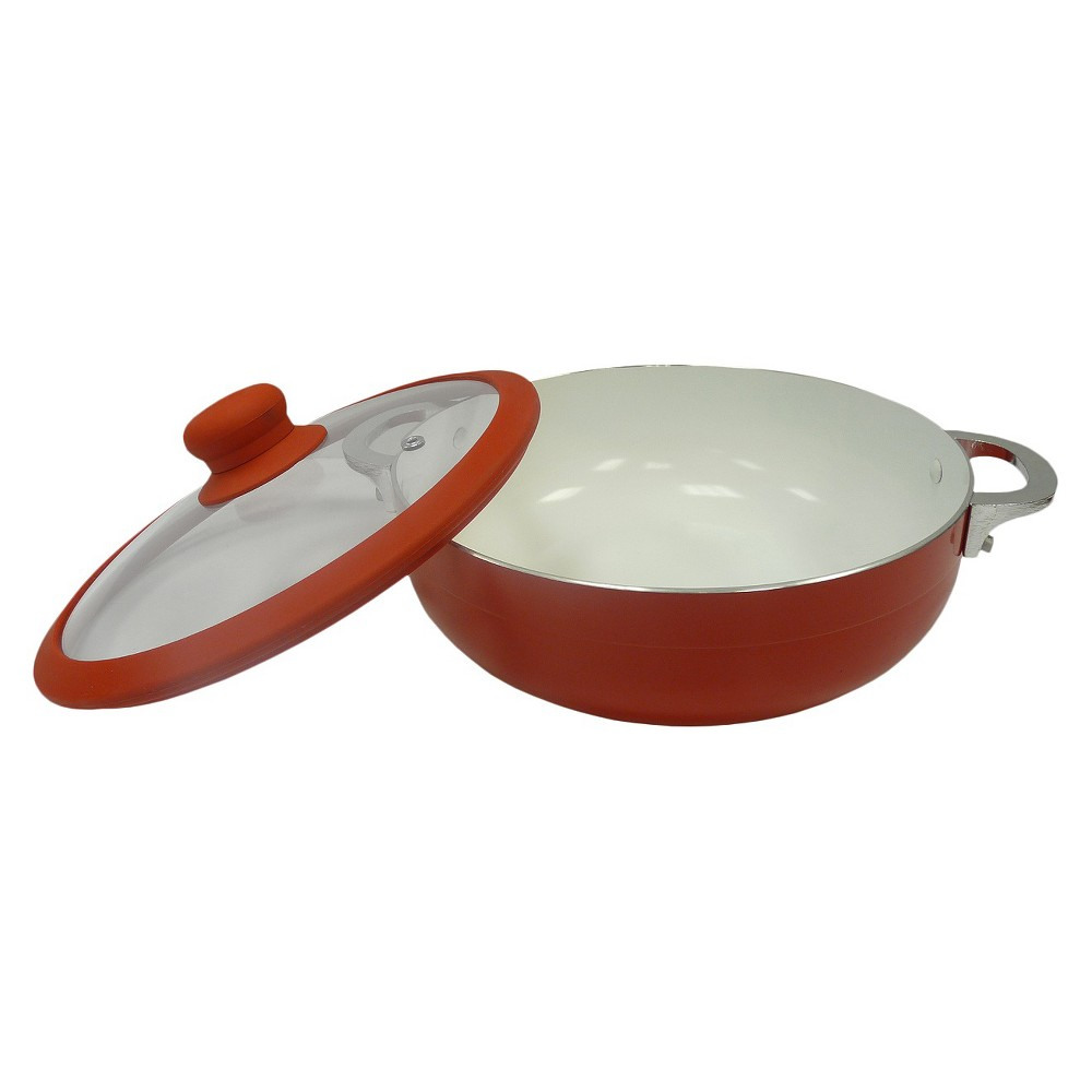Image of Imusa 30 Centimeter Ceramic Caldero with Lid - Red