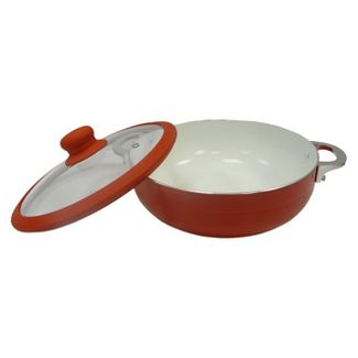IMUSA 6.9qt Red Ceramic Nonstick Caldero with Glass Lid