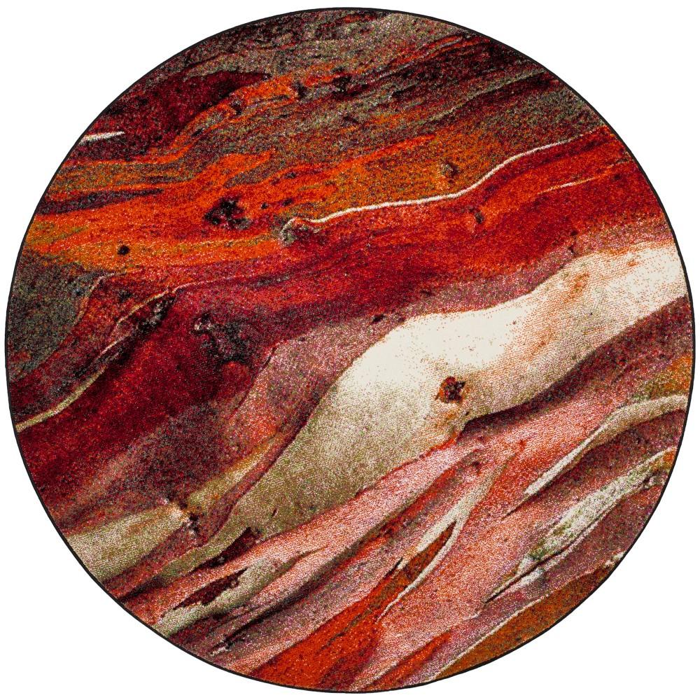 6'7 Tie Dye Design Round Area Rug Red - Safavieh
