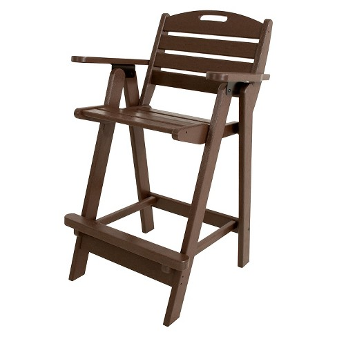 POLYWOOD® Nautical Bar Height Patio Arm Dining Chair - Mahogany - image 1 of 2