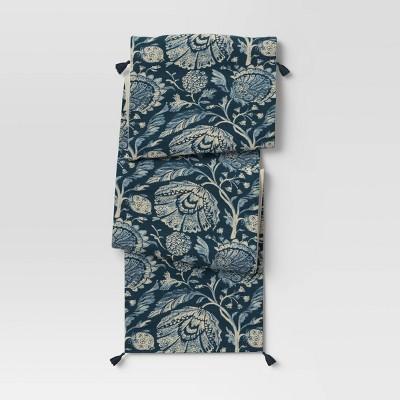 Cotton Jacobean Table Runner Blue - Threshold™