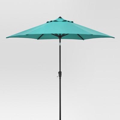 9' Round Aluminum Patio Umbrella - Turquoise - Black Pole - Threshold™
