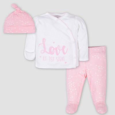 Gerber Baby Girls' 3pc Side Snap 'Love At 1st Sight' Shirt and Footed Pants with Cap - White/Pink Newborn