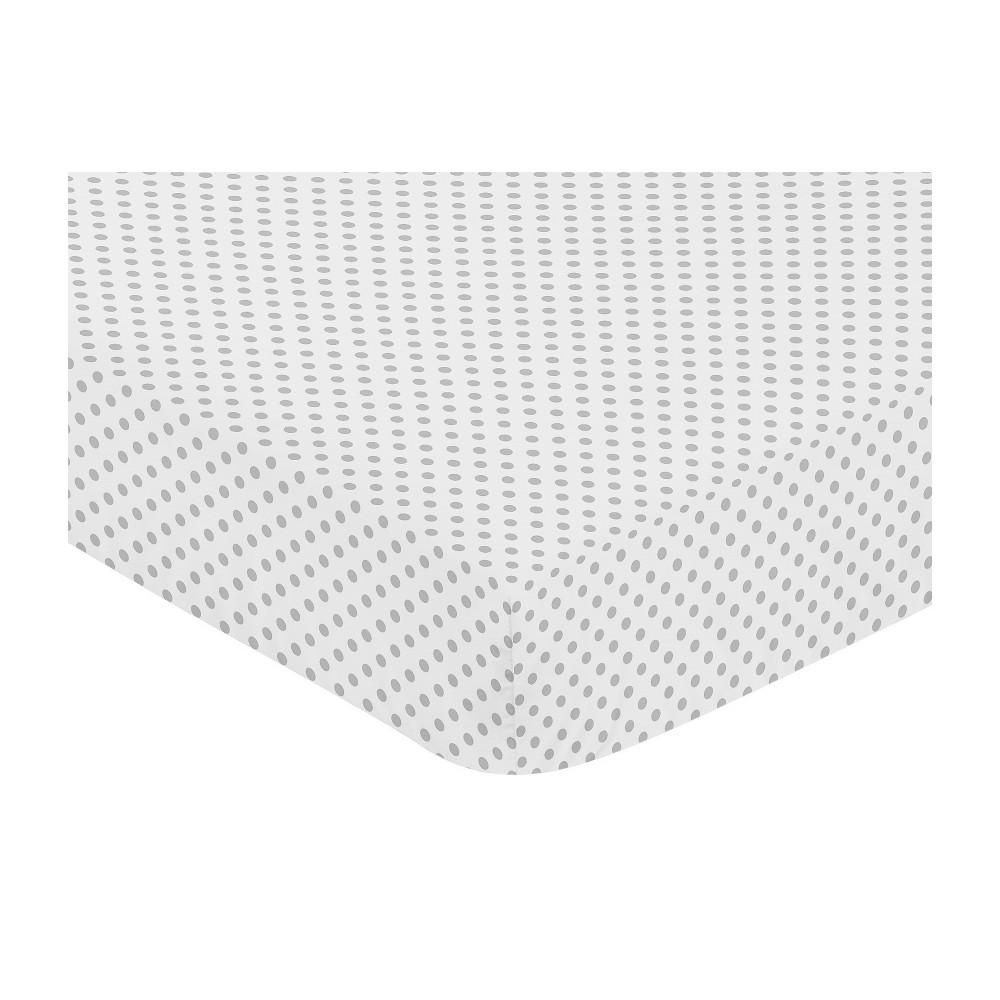 Sweet Jojo Designs Watercolor Fitted Crib Sheet Gray Mini Polka Dot