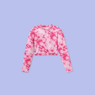 Girls' Long Sleeve Tie-Dye Rash Guard Swim Shirt - More Than Magic™ Pink