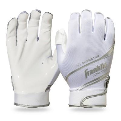 Franklin Sports Supratak Adult Medium Receiver Gloves - White