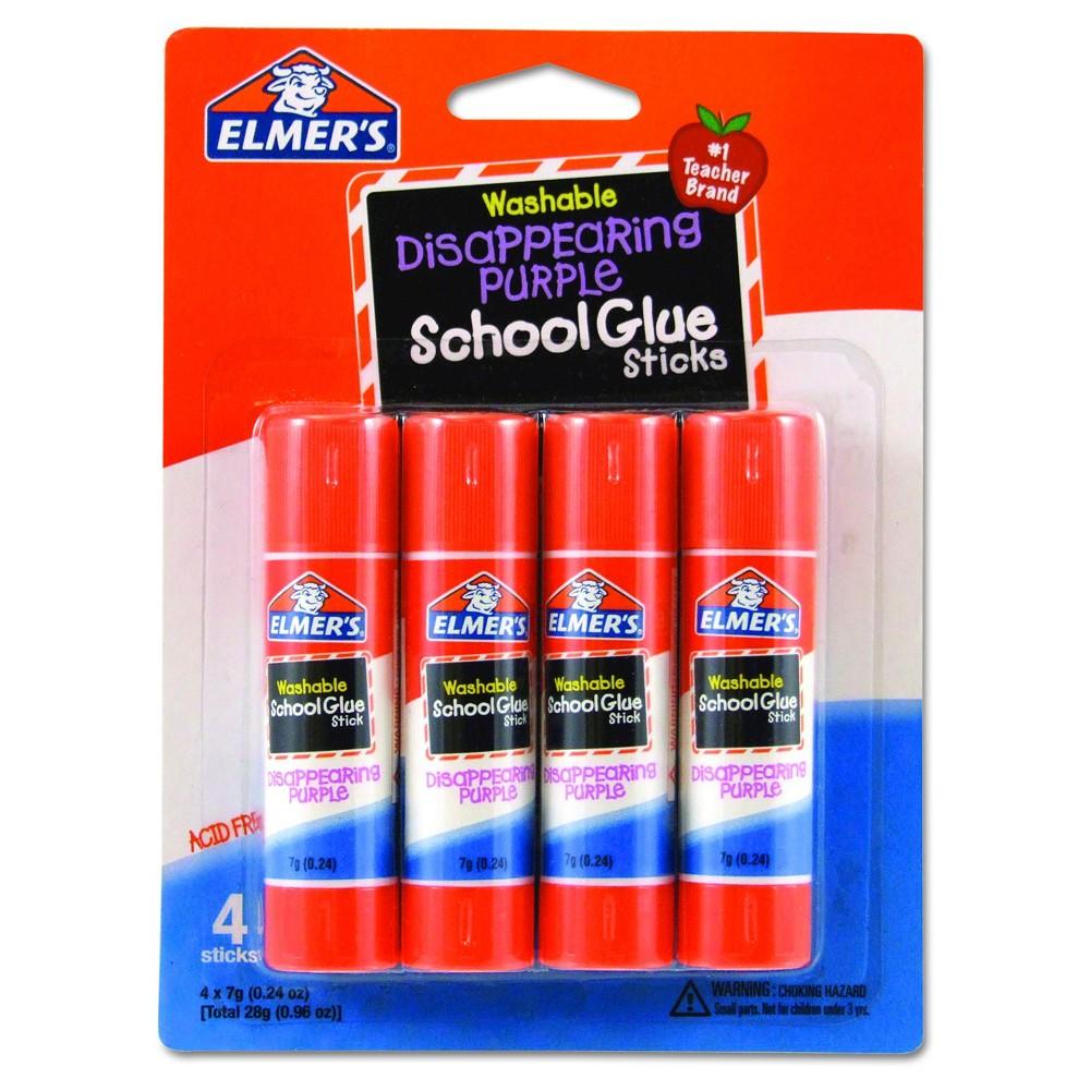 Elmer's School Glue Sticks 4ct - Disappearing Purple, Clear