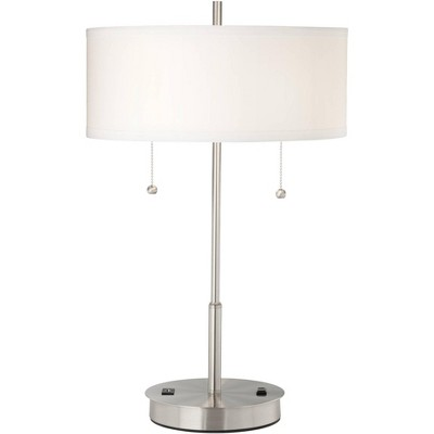 360 Lighting Modern Accent Table Lamp with Hotel Style USB and AC Power Outlet in Base Silver White Drum Shade for Living Room Bedroom Office