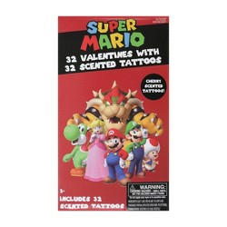 Super Mario 32ct Valentines With Scented Tattoos
