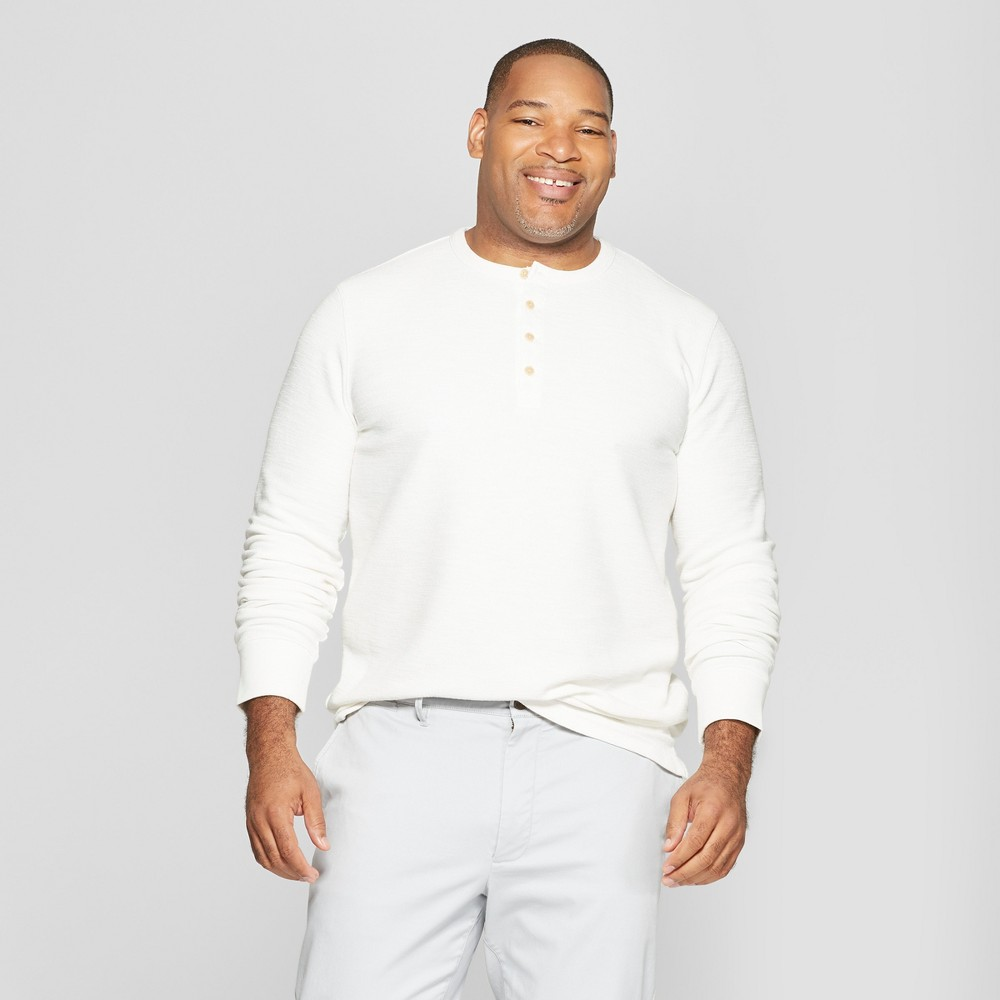 Men's Big & Tall Long Sleeve Textured Henley Shirt - Goodfellow & Co White Feather 3XB
