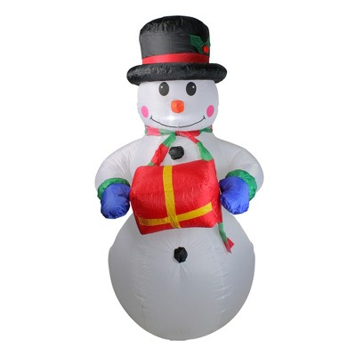 Northlight 5' Pre-Lit White and Red Inflatable Lighted Snowman Christmas Yard Art Decor