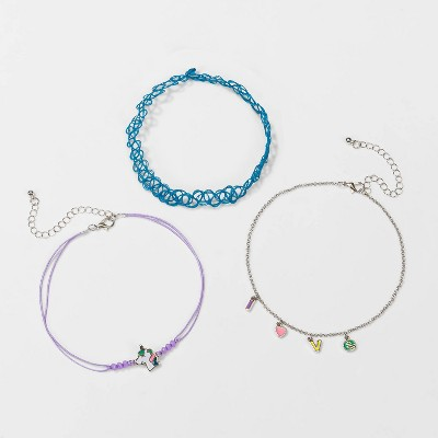 Girls' 3pk Choker Set with Unicorn and Love Charms Necklaces - Cat & Jack™