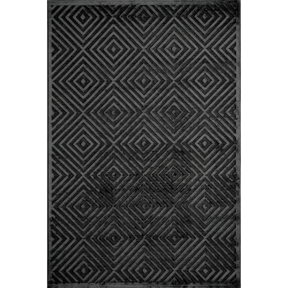5'x7'6 Diamond Geometric Area Rug Rich Charcoal - Momeni