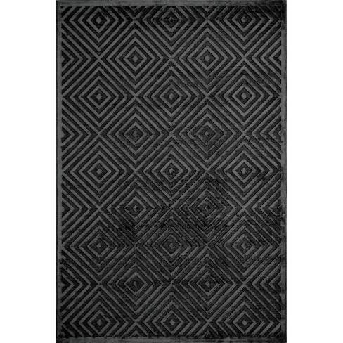 "5'x7'6"" Diamond Geometric Area Rug Rich Charcoal - Momeni - image 1 of 3"