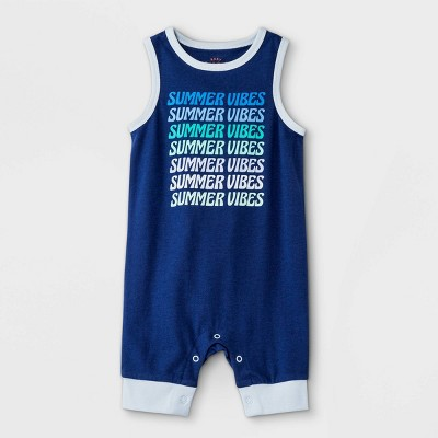 Baby Boys' Summer Vibes Romper - Cat & Jack™ Navy 0-3M