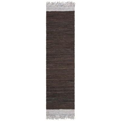 2'3 x9' Color Block Woven Runner Light Gray/Dark Brown - Safavieh