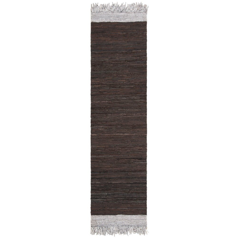 2 3 X9 Color Block Woven Runner Light Gray Dark Brown Safavieh