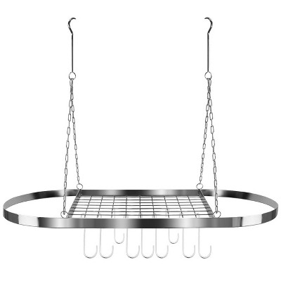 Sorbus Ceiling mounted Pot Rack with Hooks - Chrome