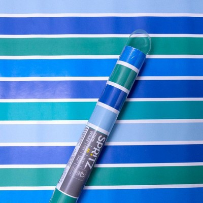 Striped Wrapping Paper Blue/Green - Spritz™
