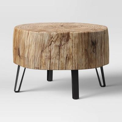 Buchanan Faux Concrete Stump Coffee table Brown - Threshold™