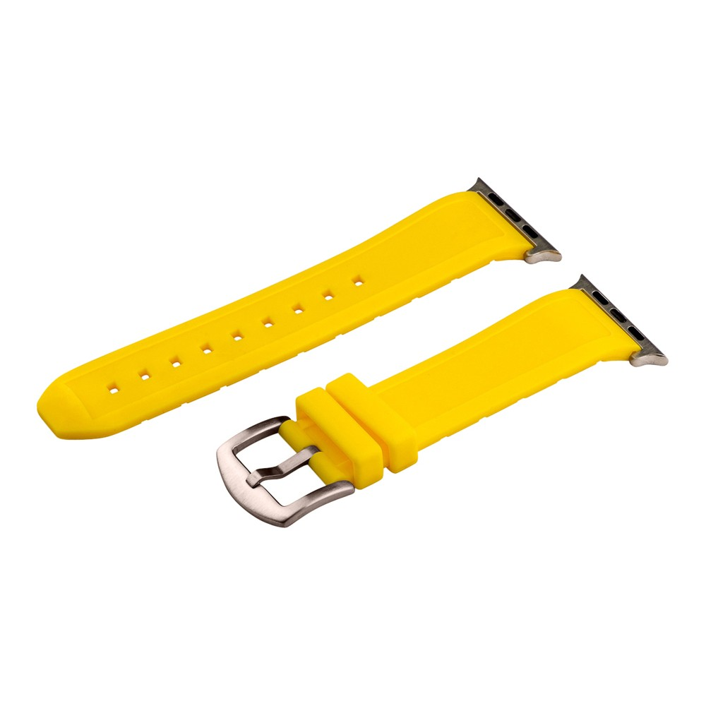 Clockwork Synergy Divers Silicone Apple Watch Band 42mm with Steel Adapter - Yellow, Adult Unisex