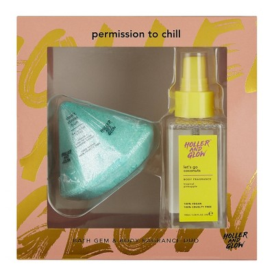 Holler and Glow Permission To Chill Bath Gem and Body Fragrance Duo - 2ct/8.59oz