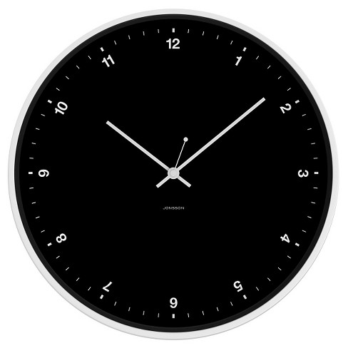 "12"" Round Wall Clock Black/White - JONSSON Timeware® - image 1 of 2"