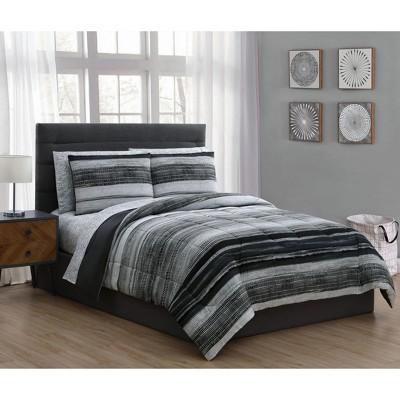 Queen 7pc Laken Comforter Set Black - Addison Home