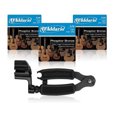 D'Addario EJ16 Phosphor Bronze Light Acoustic Guitar Strings 3-Pack with Pro-Winder String Winder/Cutter