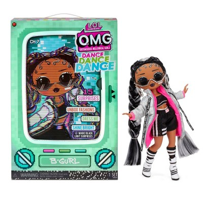 L.O.L. Surprise! OMG Dance Dance Dance B-Gurl Fashion Doll with 15 Surprises Including Magic Blacklight Shoes