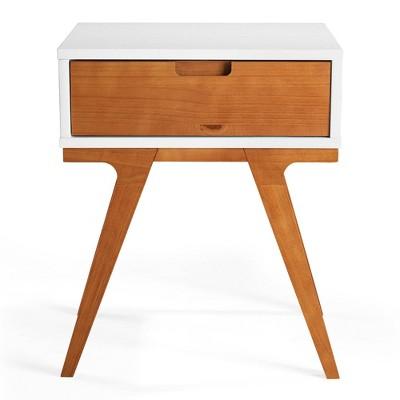 Donna Wood Bridge Leg Boho End Table with Drawer - Saracina Home